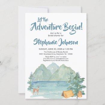 rustic mountain watercolor adventure bridal shower invitation