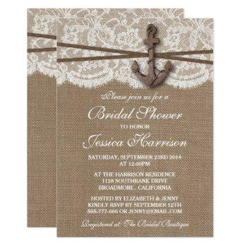 rustic nautical anchor beach bridal shower invitation