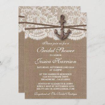 rustic nautical anchor beach bridal shower invitation