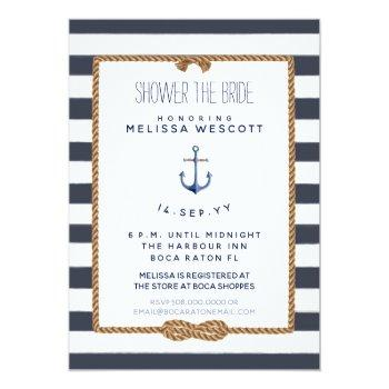 rustic navy blue nautical knot shower the bride invitation