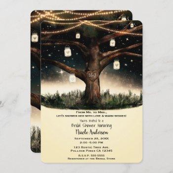 rustic night tree lights mason jars bridal shower invitation