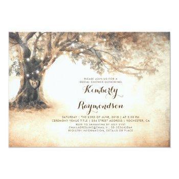 rustic oak tree and string lights bridal shower invitation