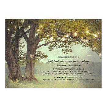 rustic oak tree romantic bridal shower invitation
