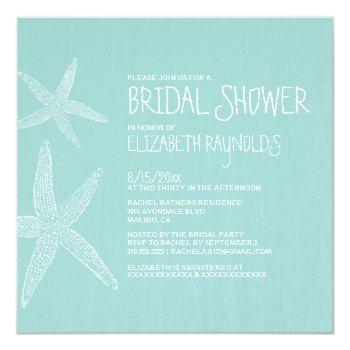 rustic pair of starfish bridal shower invitations