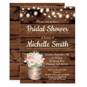 rustic peach boho barrel bridal shower invitation