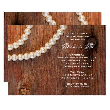 rustic pearls and barn wood country bridal shower invitation