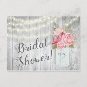 rustic peonies in a mason jar invitation postcard