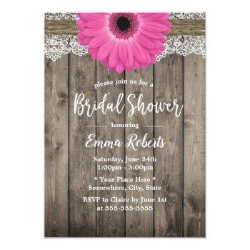 rustic pink daisy floral white lace bridal shower invitation