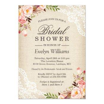 rustic pink floral ivory burlap lace bridal shower invitation