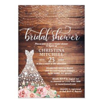 rustic pink floral white gown dress bridal shower invitation