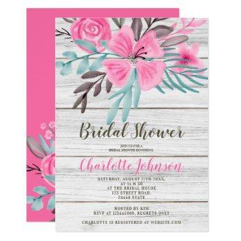 rustic pink teal floral watercolor bridal shower invitation