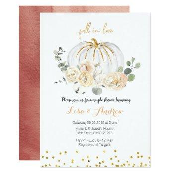 rustic pumpkin fall in love couples shower invitation