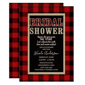 rustic red black buffalo plaid bridal shower invitation