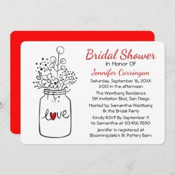 rustic red bridal shower mason jar flowers invitation