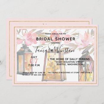 rustic romance lanterns rose gold bridal shower invitation