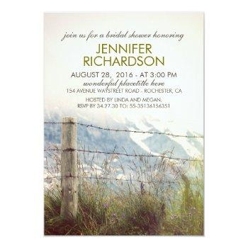 rustic rural fence post country bridal shower invitation