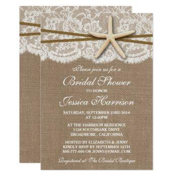 rustic starfish beach bridal shower invitations