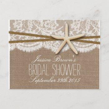 rustic starfish beach bridal shower recipe card
