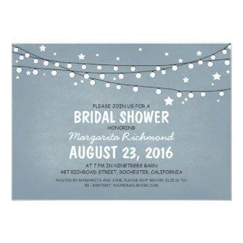 rustic starry night lights bridal shower invitation