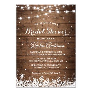 rustic string light snowflake winter bridal shower invitation