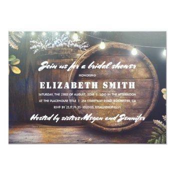 rustic string lights baby's breath bridal shower invitation