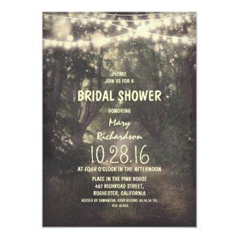 rustic string lights bridal shower invitations