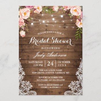 rustic string lights lace floral bridal shower invitation