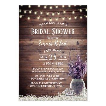 rustic string lights lavender floral bridal shower invitation