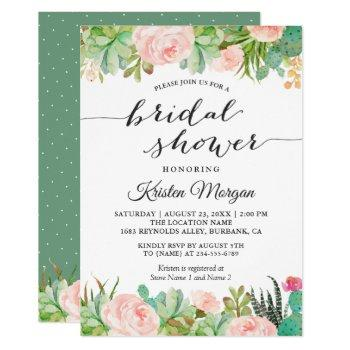 rustic succulent cactus floral bridal shower invitation