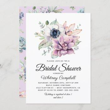 rustic succulent floral bloom bridal shower invitation