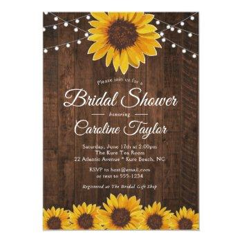 rustic sunflower bridal shower with string lights invitation