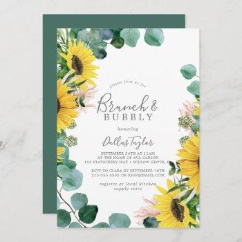 rustic sunflower brunch and bubbly bridal shower invitation