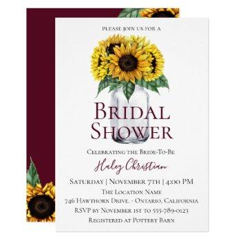 rustic sunflower floral bridal shower invitation