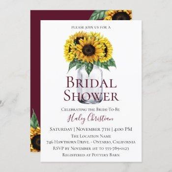 rustic sunflower floral bridal shower invitation