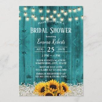 rustic sunflower floral teal barn bridal shower invitation