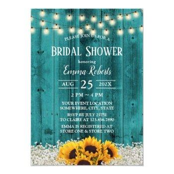 rustic sunflower floral teal barn bridal shower invitation