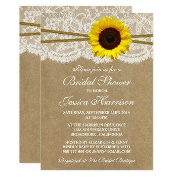 rustic sunflower kraft lace & twine bridal shower invitation