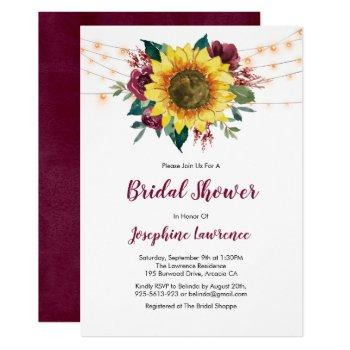 rustic sunflower lights floral bridal shower invitation