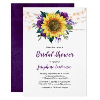 rustic sunflower purple floral bridal shower invitation