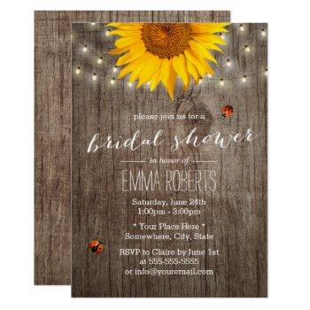 rustic sunflower string lights wood bridal shower invitation