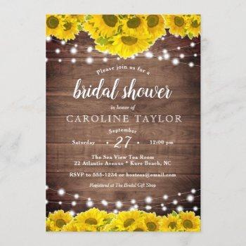 rustic sunflower string lights wood bridal shower invitation