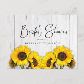 rustic sunflower wood texture bridal shower invitation postcard