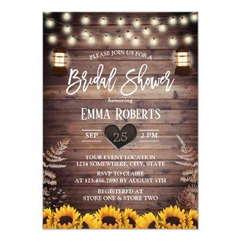 rustic sunflowers bridal shower vintage lantern invitation
