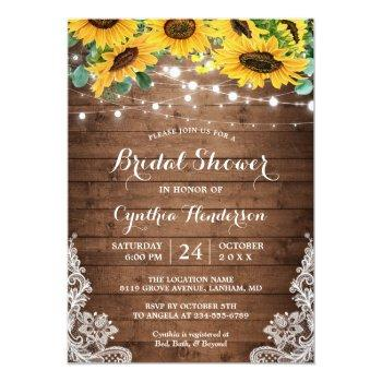 Rustic Sunflowers String Lights Lace Bridal Shower Invitation Front View