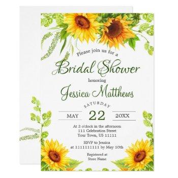 rustic sunflowers watercolor bridal shower invitation