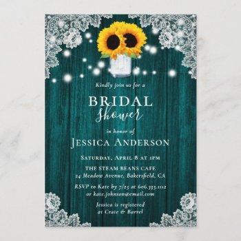 rustic teal sunflower bridal shower invitations