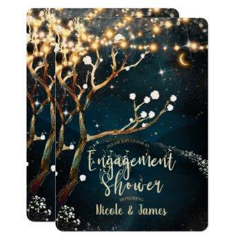 rustic tree lights starry night engagement shower invitation