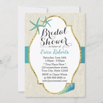 rustic turquoise beach seashells bridal shower invitation