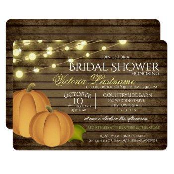 rustic twinkle lights and harvest pumpkins invitation