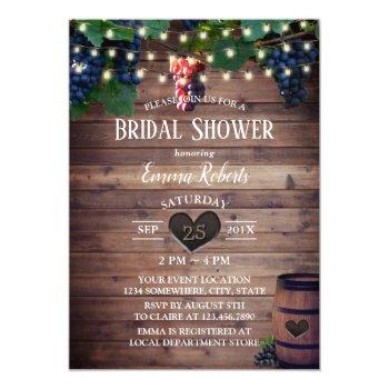 rustic vineyard wine grapes autumn bridal shower invitation